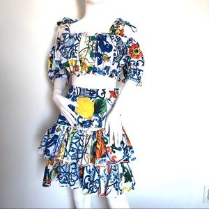 Maiolica-Print Cropped Top and Tiered Mini Skirt M